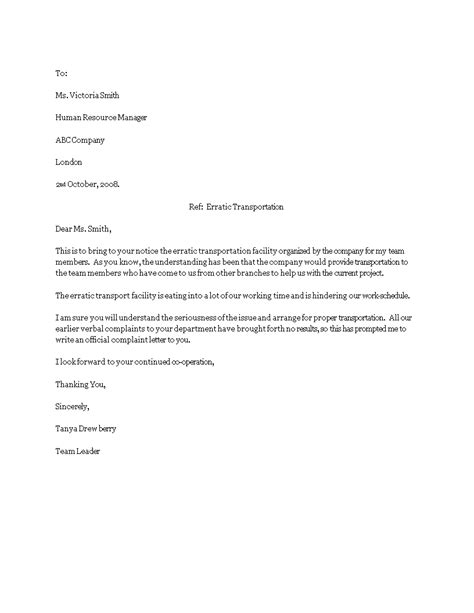 Employee Formal Complaint Letter template | Templates at