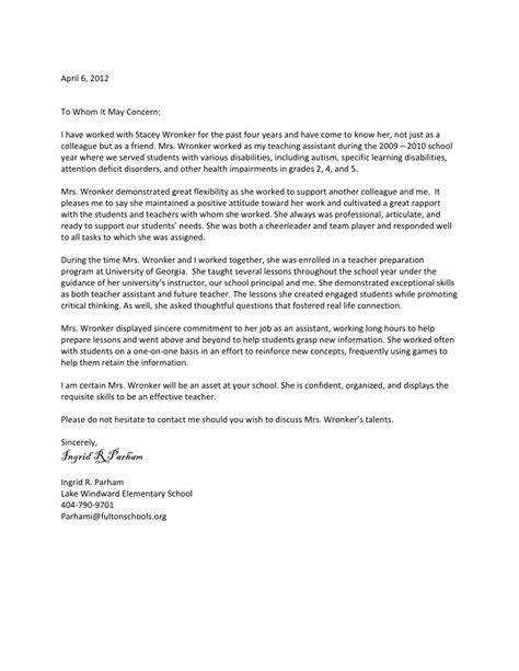 letter of recommendation for coworker letter of recommendation for s wronker