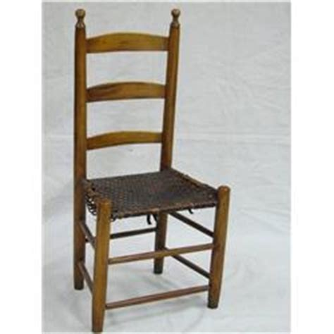 1870 ne shaker ladder back chair woven leather seat