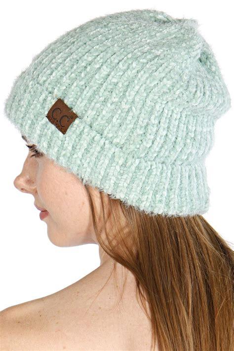 fuzzy chenille cc beanie hat