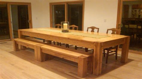 long wooden bench homemade oversized kitchen table