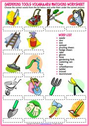 gardening tools esl printable worksheets  exercises
