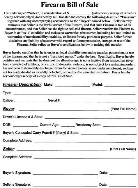 bill ofsale utah concealed carry permit sample firearm bill of sale