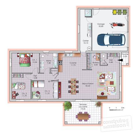 plan maison plain pied 2 chambres gratuit impressionnant plan maison plain pied 2 chambres gratuit