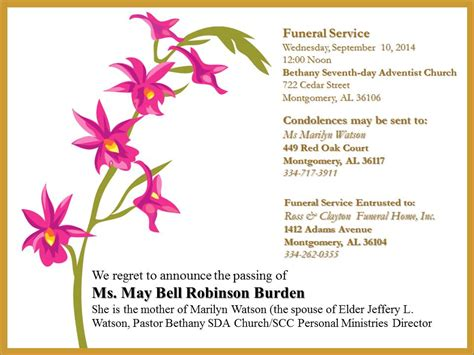 funeral announcement template south central conference website funeral announcements