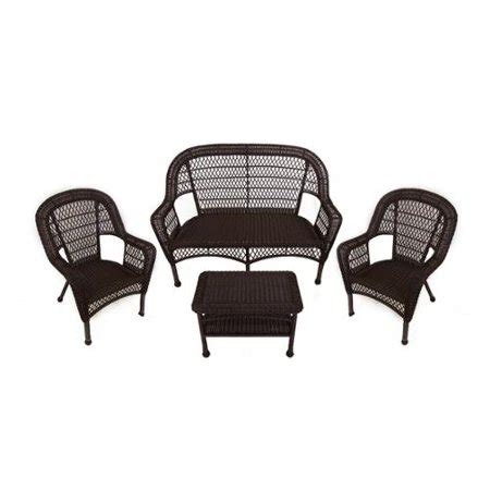 Resin Loveseat Patio Furniture by 4 Brown Resin Wicker Patio Furniture Set Loveseat