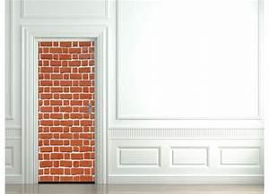Mur Trompe L Oeil : stickers pour porte mur de brique tatoutex stickers ~ Melissatoandfro.com Idées de Décoration