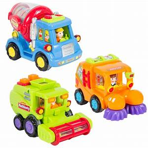 Set Of 3  Push And Go Friction Powered Car Toy Trucks