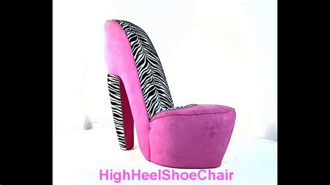 zebra pink high heel shoe chair
