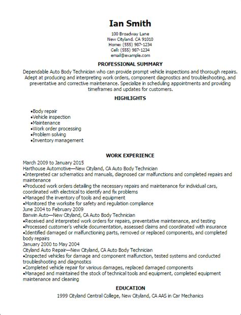 Auto Resume by Sle Resume For Auto Glass Technician Facebookthesis