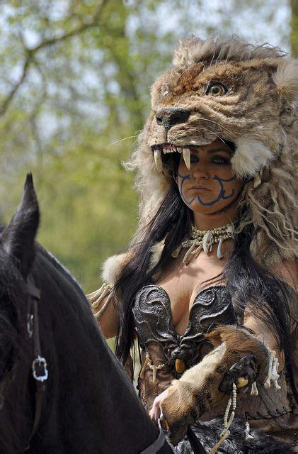 warrior female barbarian celtic cosplay lion wild woman warriors memes animals elf larp hunting fantasy princess head armor easy character