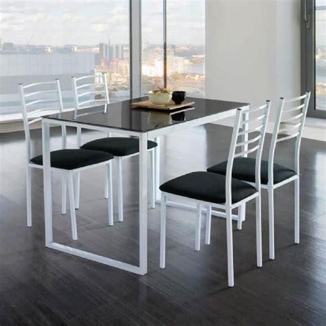 table cuisine 4 chaises ensemble de noa table de cuisine verre 4 chaises noir