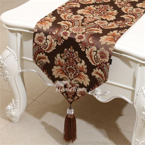 burgundy table runner jacquard polyester coffeegoldbrown