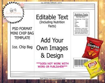 chip bag template for chip bag template etsy