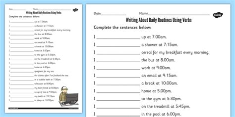 verbs  daily routines worksheet activity sheet