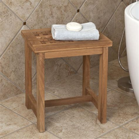 Teak Honeycomb Shower Stool Bathroom