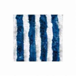 Rideau Blanc Et Bleu : rideau de porte chenilles coloris blanc bleu pour caravane et camping car ~ Teatrodelosmanantiales.com Idées de Décoration