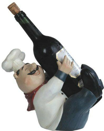 fat french chef wine bottle holder poly resin kitchen