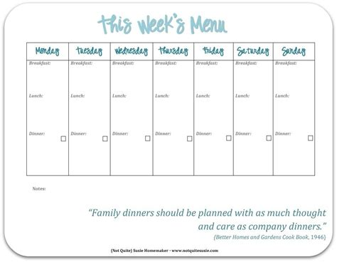 Weekly Menu Template Free Printable Weekly Menu Template Resume Corner