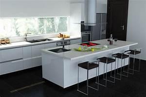 53 variantes pour les cuisines blanches With cuisine blanche avec ilot central