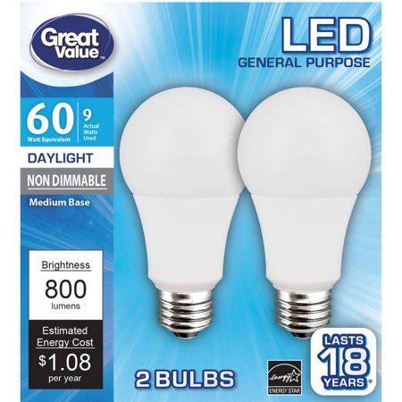 led light bulbs walmart great value led light bulb 9w 60w equivalent a19