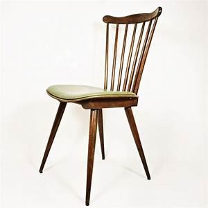 Chaise Vintage Cuir : chaise vintage en bois et simili cuir vert 1960 design market ~ Teatrodelosmanantiales.com Idées de Décoration