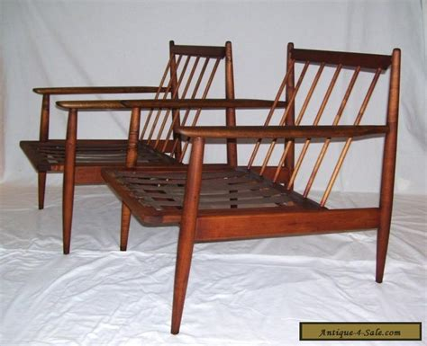 pair of vintage walnut mid century modern