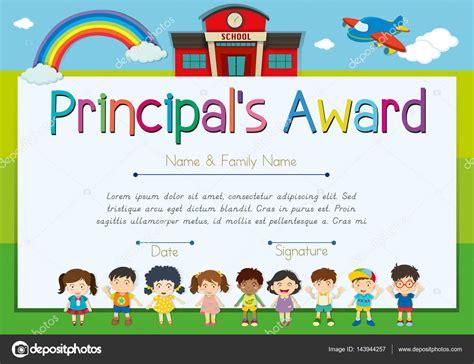 certificate template for principal s award stock vector