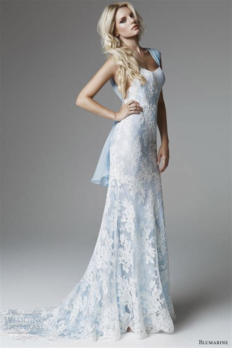 pale blue wedding dress blumarine 2013 bridal collection wedding inspirasi