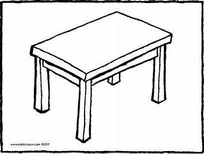 Table Colouring Drawing Furniture Kiddicolour Colour Email