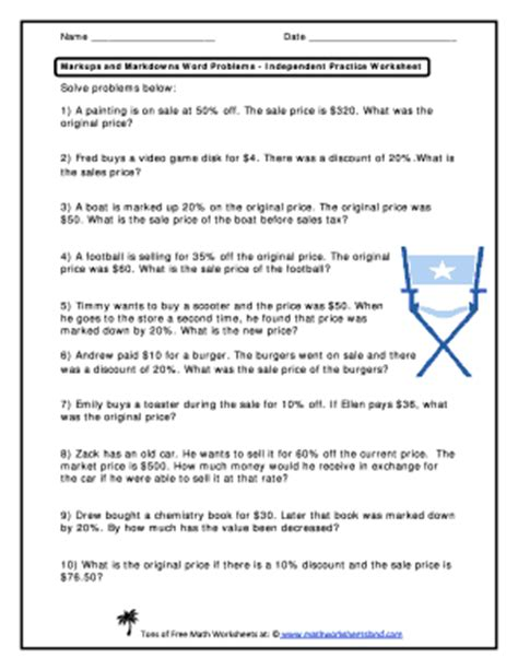 markups  markdowns word problems independent practice