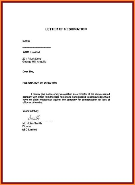 exles of letters of resignation sle resignation letter because of personal reasons 11696