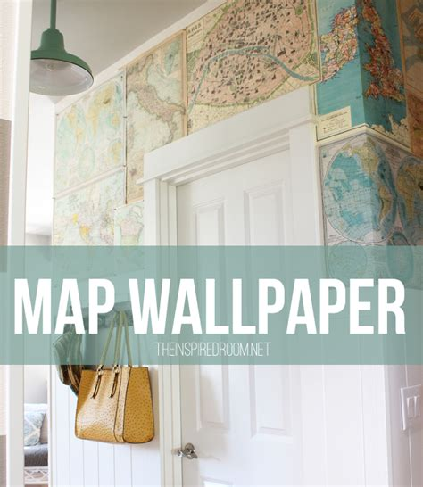 my diy map wallpaper small hallway the inspired room