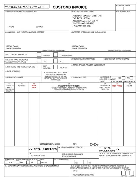 customs invoice template us customs invoice requirements invoice template ideas