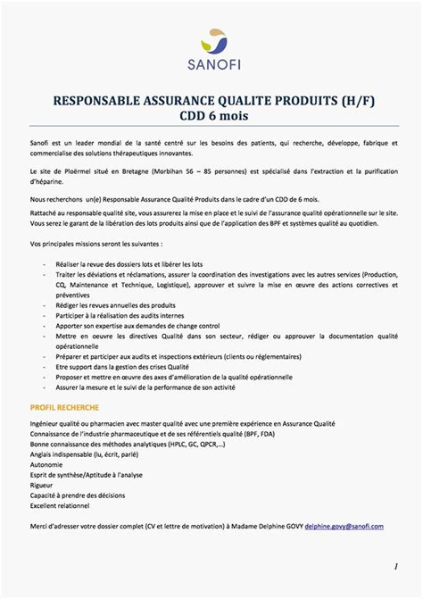 lettre de motivation pharmaceutique modele de cv