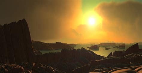 illustration landscape sun clouds water