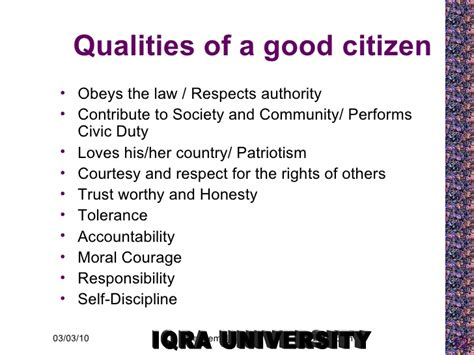 Qualities For A by Characteristics Of Citizen2