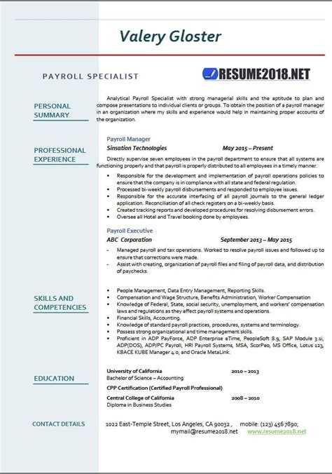 Payroll Resume by Payroll Specialist Resume Templates 2018 Resume 2018