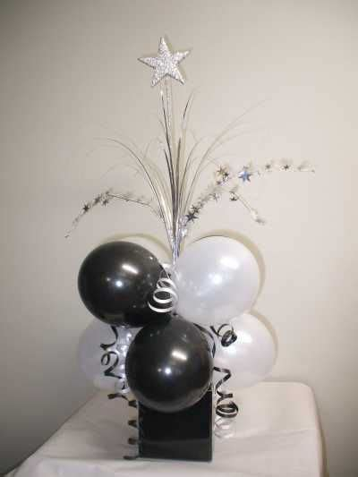 black and white party table centerpieces prom table balloon decorating ideas supplies black