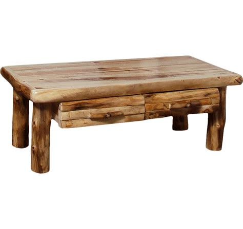 Aspen Log Standard Coffee Table With Drawer  Rustic Log