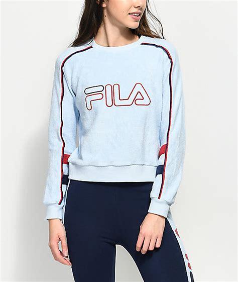 light blue crew neck sweatshirt fila nikita light blue terry crew neck sweatshirt zumiez