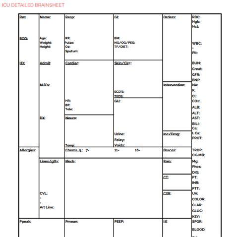 nursing report template the ultimate nursing brain sheet database 33 report sheet templates