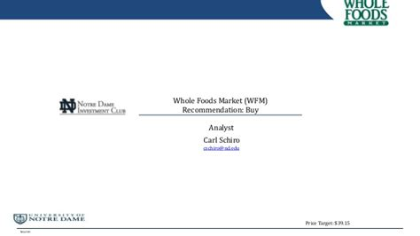 Stock Pitch Resume by Whole Foods Stock Pitch
