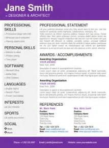 Clean Resume Template Word Professional Resume Purple Pag2