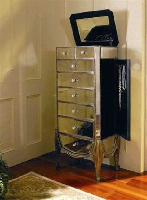 Mirrored Jewelry Cabinet Armoire by Bassett Mirror Collette Mirrored Jewelry Armoire T1267
