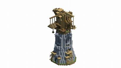 Tower Fantasy Medieval Mage Build Minecraft Stages