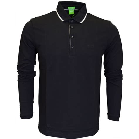 hugo green c tivoli modern fit sleeve black polo