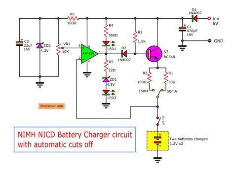 Automatic Nimh Battery Charger Circuit Using