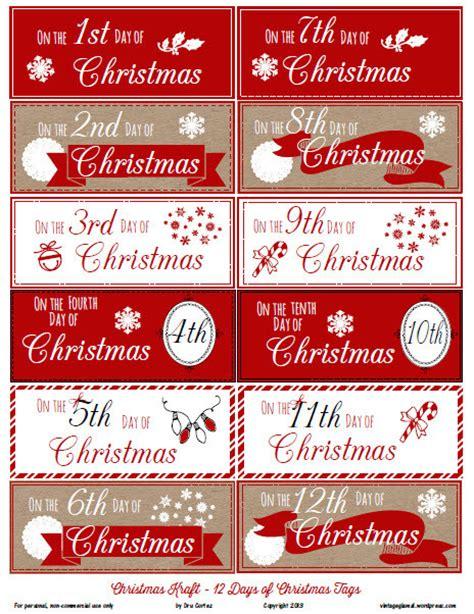 free printable download 12 days of christmas gift tags