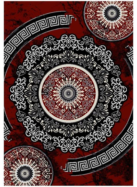 tapis salon  florida  gris  rouge